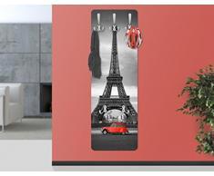 WTD - Appendiabiti a muro design, in legno, motivo Tour Eiffel