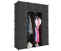 TecTake Scaffale armadietto modulare mobile scaffalatura mensola per scarpe bagno sistema di plug-in cuba con appendiabiti - disponibile in diversi colori - (Nero | No. 401580)