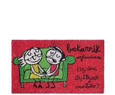 laroom Zerbino Motivo Bakarrik azkenean, Jute And Base Antiscivolo, Rosso, 40Â x 70Â x 1.8Â cm