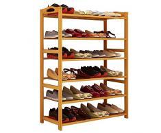 WWWANG Solid Scarpe di Legno Mensola Rack, Struttura di bambù Bagagli, impianto Stand, con Maniglie, 4-Tier / 5-Tier / 6-Tier / 8-Tier, Versatile - Una scarpiera for Ogni Famiglia