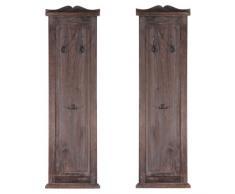 Serie vintage set 2x appendiabiti attaccapanni legno paulonia 3 ganci 6x28x110cm ~ marrone