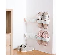 E-Meoly - Set di 4 pezzi di mensole porta scarpe in plastica da parete, da utilizzare all'ingresso della casa, sulle porte, ecc. White