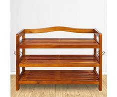 Deuba Scarpiera in legno di acacia | legno massello | 3 robusti ripiani | 4 ganci metallici | 85 cm x 26 cm x 62 cm | porta scarpe | scaffale | colore: marrone