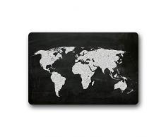 ELQSMTIR Personalizzato Moda Arte Stampa Mappa del Mondo sulla Lavagna zerbino Tappetino Antiscivolo tappeti da Cucina 59,9 x 39,9 cm