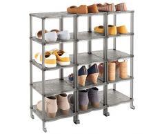 mDesign Porta scarpe – Scaffali portascarpe salvaspazio con 15 ripiani per sandali, stivaletti e stivali – Scaffale con ripiani in plastica per corridoio e guardaroba – grigio fumo