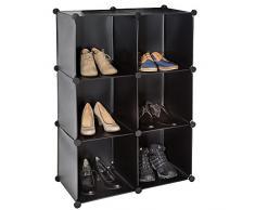 TecTake Scaffale armadietto modulare mobile scaffalatura mensola per scarpe bagno - disponibile in diversi colori - (Nero | No. 401575)