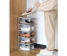 shoe rack Scarpiera 6 Livelli Conservazione Scarpe Mensola Organizzatore a Prova di Polvere Materiale PP può la Regolazione Montaggio Installazione Facile Grigio