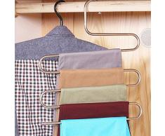Homeself acciaio inossidabile S-Type multiuso Magia Pantaloni armadio Grucce appendiabiti salvaspazio porta per appendere Jeans, Pantaloni, Sciarpa, Cravatta, asciugamani, Appendiabiti Silver + Pack of 2