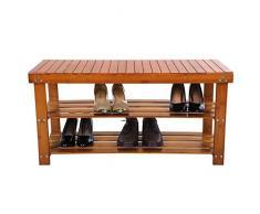Songmics Scarpiera Porta scarpe Scaffale Sgabello di Legno Bambù per Spogliatoio Casa 90 x 45 x 32 cm LBS90Z