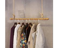 QiangDa Anello del Soffitto Appendiabiti in Legno Corda di Canapa Espositore per Casa Negozio di Vestiti Stile Industriale Vintage, 4 Dimensioni Opzionale (Dimensioni : 120cm)