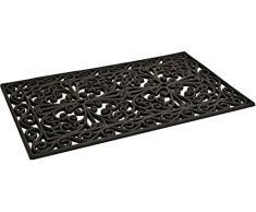 Zerbino rettangolare in gomma naturale decorata a ricamo colore nero 45x75