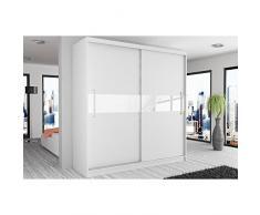 JUSThome Simply II Armadio ingresso Guardaroba 218x133x60 cm Colore: Bianco Opaco   Bianco Lucido