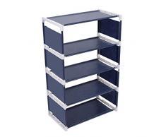 TankerStreet - Scarpiera a 5 ripiani, impilabile, in acciaio inox, in tessuto, salva-spazio, impermeabile, per porta, 41 x 21 x 18 cm, blu scuro