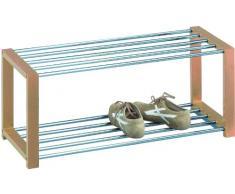 HomeTrends4You 839155 Panca con vano scarpiera, 80 x 32 x 30 cm, colore faggio cromata