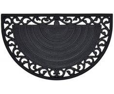 Casa Service Zerbino Iron Mezzaluna Gomma 45x75 cm per Ingresso da Esterno Stile Ferro battuto Decorato Resistente Lavabile Antiscivolo di qualità drenante
