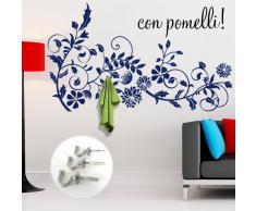00407 Adesivo murale con ganci per appendiabiti Wall Art - Ramo fiorito appendiabiti - Misure 120x70 cm - blu - Decorazione parete, adesivi per muro, carta da parati