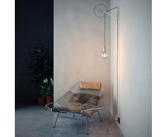 Pinocchio, supporto a muro regolabile in legno verniciato bianco per lampade a sospensione.