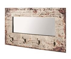 HAKU, Specchio da parete con 4 ganci appendiabiti, Multicolore (Bunt 1)
