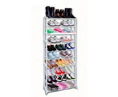 Scaffale con 10 ripiani per c. 30 paia di scarpe 52 x 24.5 x 139 cm colore: bianco metallo plastica