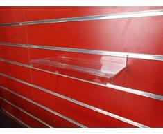 10 x New SlatWall display Slatboard mensola/ripiani di dimensioni e confezioni: scarpe, borse CLEAR WITHLIP