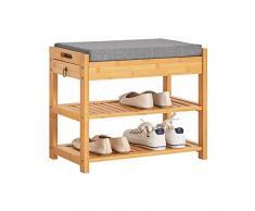 SoBuy® Scarpiera da ingresso, Cassapanca,Portascarpe con cuscino e cassetto,FSR49-N,IT