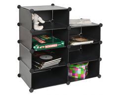 Armadio ad innesto, scaffale, armadietto a muro per CD DVD libri per corridoio bagno. Color nero