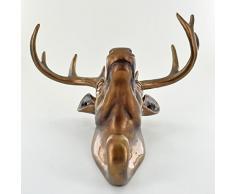 Appendiabiti a forma di testa di cervo, decorativo da parete di verniciato finitura bronzo antico H23 CM