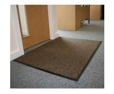 Barriera JVL-Zerbino con retro in gomma antiscivolo per tappetini, in vinile, colore: marrone/nero, 80 x 140 cm, misura grande