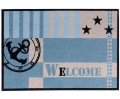 """Zerbino Metropolitan con scritta """"Welcome"""", con ancora e stelle, marittimo, 39x58 cm, azzurro"""