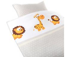 Gräfenstayn®, lenzuola per bambini, 2 pezzi, motivo con animali, chiusura lampo integrata, 100% cotone. Copripiumino 135 x 100 cm; federa 60 x 40 cm (Giraffa & Leone)