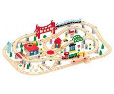 Leomark Treno Set in Legno, Grande Pista Trenino in Legno per Bambini, 130 Pezzi Accessori, Gioco Creativo Treno, Piattaforme Tracce segnali, stradali Elicottero e Fattoria Animali