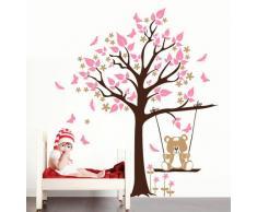 """Adesivo murale Wall Sticker per bambini """"Orsetto sull'altalena"""" - Misure 111x150 cm - Decorazione parete, adesivi per muro"""