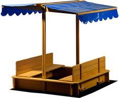 Dobar 94357 FSC - sabbiera con Tetto Rimovibile orientabile, Panche, Pavimento Plane, verschliessbare Sand Scatola in Legno per Bambini, 120 x 120 cm, Colore: Marrone Chiaro