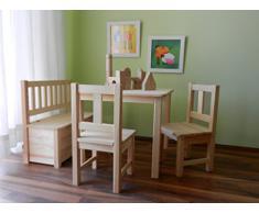 Best of JAM - Set di mobili per bambini composto da 1 tavolino, 2 sedie, 1 cassapanca, in legno massiccio non trattato, prodotto nuovo in confezione originale