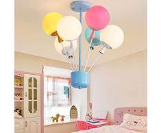 Lampadario per cameretta per bambini Lampadario a sospensione creativo Lampada per mongolfiera a LED colorati Lampadario per soffitto per cameretta dei bambini (6 lampade) Camera da letto per ragazza