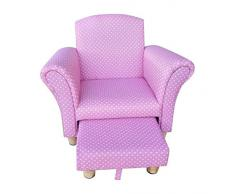Tiny Royals - Poltroncina da bambini con poggiapiedi, motivo: a pois, colore rosa/bianco