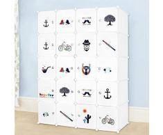 Meerveil Armadio in Plastic Guardaroba per Bambini Abbigliamento Stoccaggio Cubo (Bambini-20 cubi)