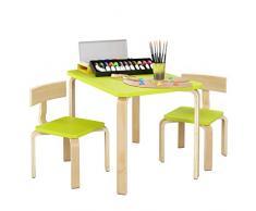 Homfa Tavolino Pittura Scrivania Per Bambini da Gioco con 2 Sedie in Legno 78.2x53.2x53.2cm (Verde)