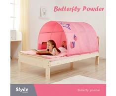 JINGJIJNG Letto Tenda per Bambini Tenda da Gioco Tenda Colorata Tunnel Ragazzo Cartone Animato Tenda da Letto Letto della Principessa Casa di Gioco,Pink