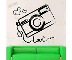 Fotografia della Macchina Fotografica Amore Camera da Letto Wall Sticker Decalcomania della Parete del Vinile Soggiorno Arte Decorazione Scuola Materna Adesivo Finestra per Bambini 62x57cm