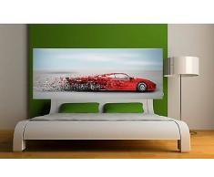 Sticker-Testiera da letto Decorazione da parete, motivo: Macchina sportiva, (rif. 3659 5 dimensioni), 200x78cm