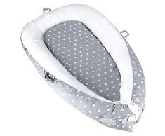 Luchild Baby Nest Riduttore Per Letto Culla Sacco Nanna per Neonati, Multifunzionale lettino da viaggio (round dot gray)