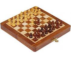 SouvNear Scacchi (Aperto pensione Dimensione -18x18 cm) con Pieghevole Gioco da tavolo , legno Staunton Pezzi Degli Scacchi - Fatto a mano Magnetico Viaggiare Chess Set con scacchi immagazzinamento in Palissandro con Una Finitura