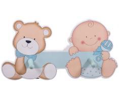 Bieco, Appendiabiti a orsetto per bambini, con due ganci e targhetta per nome, Blu (blau)