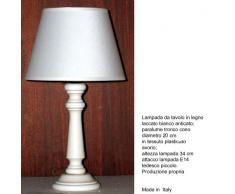 Idea casa: Lampada da tavolo PRODUZIONE PROPRIA (made in Italy) base in Legno laccato Paralume INCLUSO. Altezza 34cm