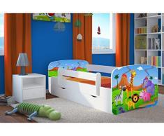 Bjird Letto per Bambini Singolo Bianco 140x70 160x80 180x80 con sponda anticaduta con barriera cassettone Estraibile e Telaio a doghe per Bambini e Bambine - Safari - 80 x 160 cm