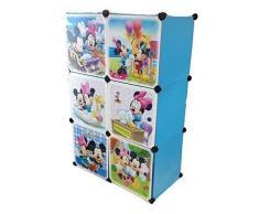 Sistema Di Scaffalature Armadio Vestiti Vivaio Di Mensola Guardaroba Mobili Bambini Armadio - 6 blu