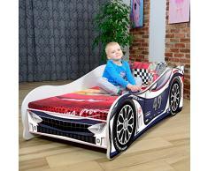 LETTO PER BAMBINI 140X70 CM 160 x 80 CM 180 X 80 CM AUTO CARS + MATERASSO CON FODERA CERTIFICATO ECO LOGO (180 x 80 cm a 12 anni, NAVY-WHITE)