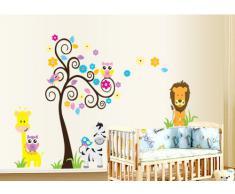 ufengke® Albero e Cartoni Animati Colorati Animali Adesivi Murali, Lovely Owls Zebra Lion Giraffe, Camera Dei Bambini Vivai Adesivi da Parete Removibili/Stickers Murali/Decorazione Murale