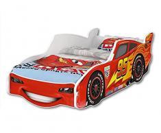 iGLOBAL - Lettino per bambini Zig Zag Lightning McQueen Cars 3, letto per ragazzi con rete a doghe e materasso 160 x 80 cm (160 x 80 cm con un materasso opaco)